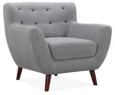 Emily Single Armchair Angle Shot Smoke Grey Fabric