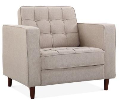 Gustav Armchair In Cream Fabric Angle View