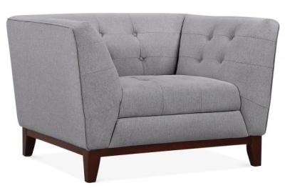 Eden Designer Armchair Smoke Grey Fabric Angle View