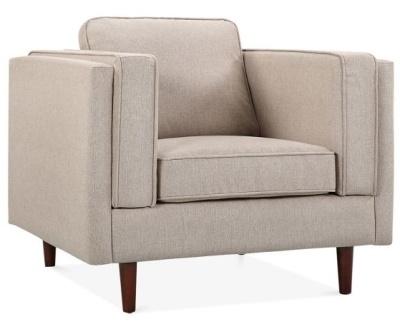 Eddie Designer Armchair Cream Upholstery Angle View