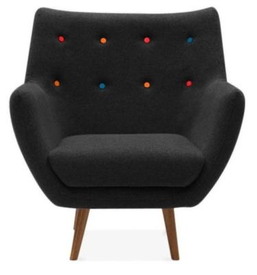 Poet Style Armchair In Black Facing Shot
