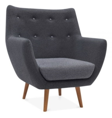 Poet Style Armchair In Grey Angle Shot
