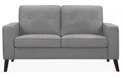 Pimlico Two Seater Sofa In Smokey Grey Fabric Front View