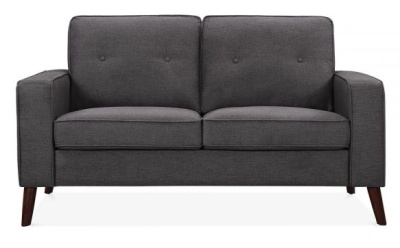 Pimlico Designer Two Seater Sofa In Dark Grey Fabric Front View