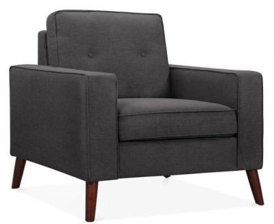 Pimlico Designer Armchair In Dark Grey Fabric Angle Shot