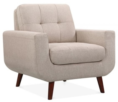 Maxim Armchair In Cream Fabric Angle View
