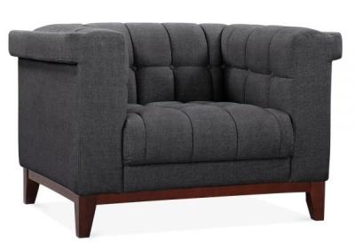 Decor Armchair In Dark Grey Gabric Angle View