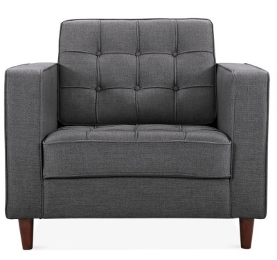 Gustav Single Seater Armchair In Dark Grey Fabric Face View
