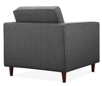 Gustav Single Seater Armchair In Dark Grey Fabric Rear Angle