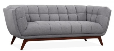 Oboe Three Seater Sofa Angle View In Smoke Grey