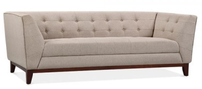 Eden Designer Three Seater Sofa In Cream Angle View