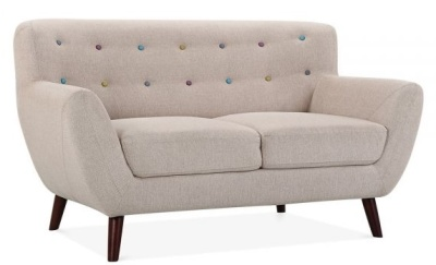 Enilt Two Seater Sofa In Cream Fabric Angle View