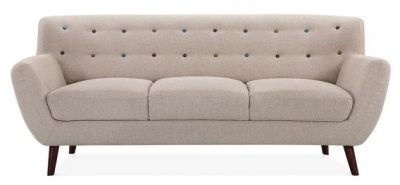 Emily Three Seater Sofa In Cream Front Shot