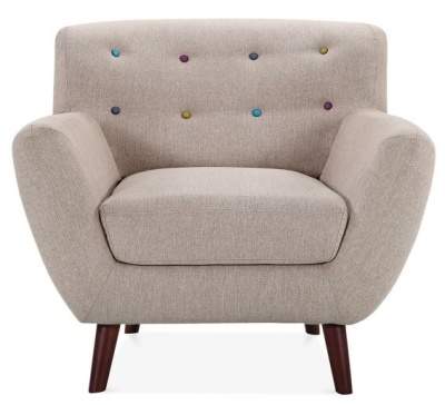 Emily Armchair Cream Fabric Front View