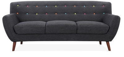Emily Three Seater Sofa In Dark Grey Front View