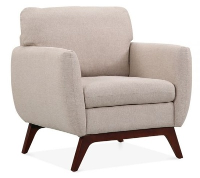 Toleta Armchair Cream Fabric Front Angle View