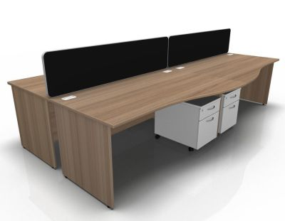 Stellar 4 Way Wave Desk Cluster With Mobile Peds Panel In Birch White