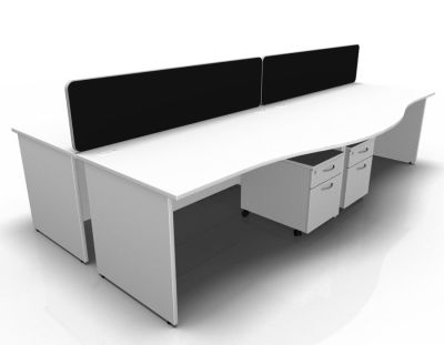 Stellar 4 Way Wave Desk Cluster With Mobile Peds Panel In White