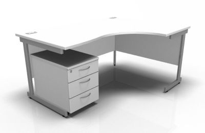 Stellar Right Hand Corner Desk & Mobile Pedestal In White