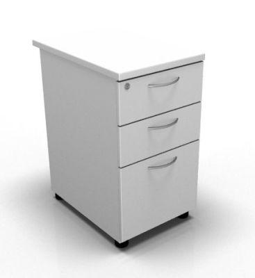 3 Drawer Desk High Pedestal White