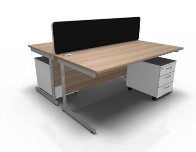 Stellar Rec Desk With Mobile Ped Cant In Birch White