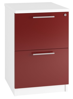 Trend Two Drawer Filing Cabinet High Gloss Red Fronts