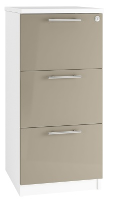 Trend Three Drawer Filing Cabinets With Stone Colour Drawer Fronts