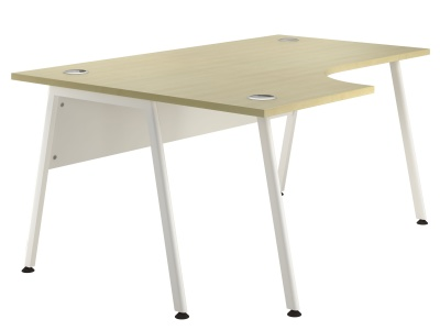 Sepctrum Left Hand Corner Desk With A Maple Top And White Frame