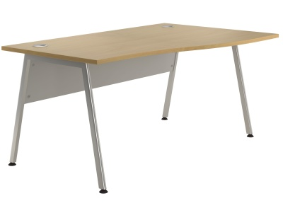 Spectrum Right Nad Wave Desk With A Beech Top And Silver Frame