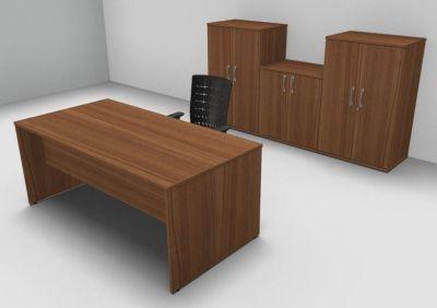 Avalon Exe Djon Walnut Rectangular Desk Three Double Door Cupboards