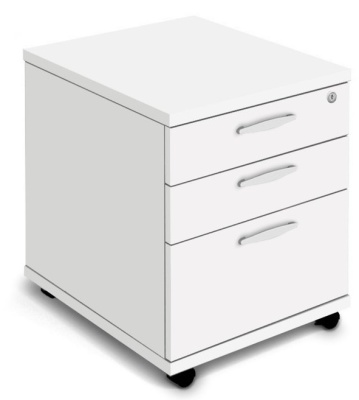 Rapido Three Drawer Mobile Pedestal In White