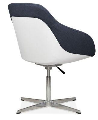Mexico Tub Chair Dark Blue Fabric Rear Angle View