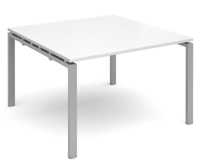 Exact Square Starter Modular Table With A White Top And Silver Frame