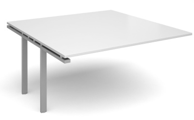 Exact Add On Table With A White Top And Silver Frame