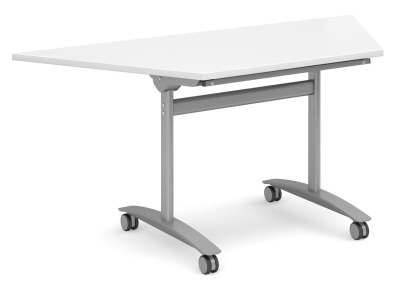 Fm Flip Top Trapezoidal Table With A White Top