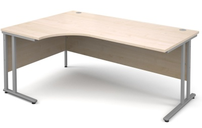 Momentum Left Hand Corner Desk With A Maple Top And Silver Frame