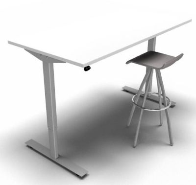 Height Adjustable Desk White Silver Frame Grey Stool 2