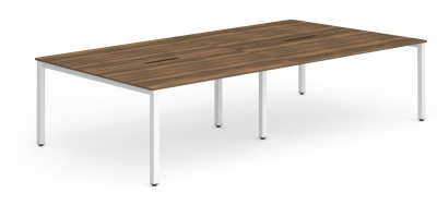 Expand Four Person Bench Desk With A Walnut Top And White Frame