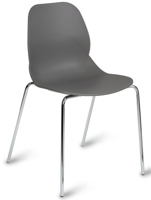 Mackie Chair With A Grey Shall And Four Chrome Legs