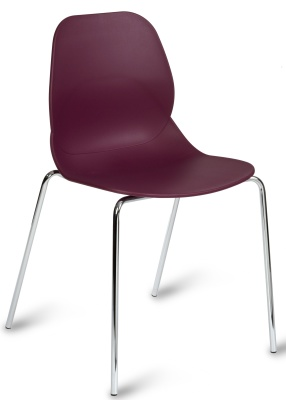 Mackie Chair With A Plum Poly Shell And Chrome Legs