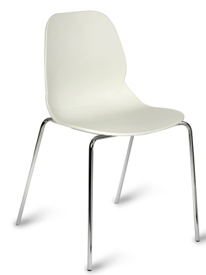 Mackie Chair With A White Shell And Chrome Legs