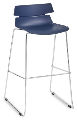 Foxton Designer High Stool With A Navy Blue Seat