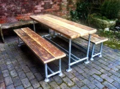 Scaffold Dining Set Distrssed Wood