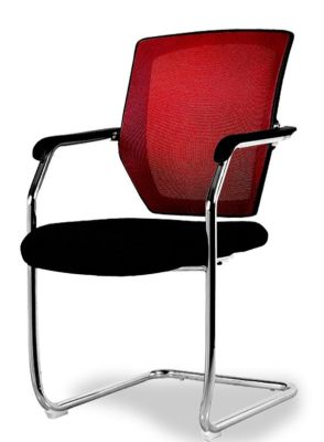 Regatta Mesh Back Meeting Chair With A Red Back Front Angle View