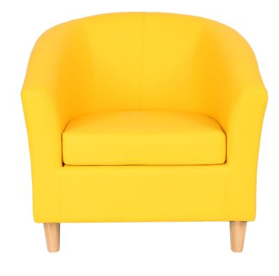 Tritium Yellow Tub Chaire With Wooden Feet Front View