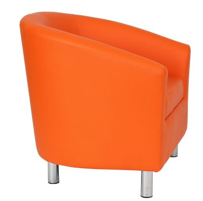 Tritium Orange Leather Tub Chairs With Chrome Feet Side View