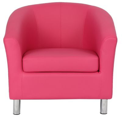 Tritium Pink Leather Tub Chair With Chrome Feet Front View