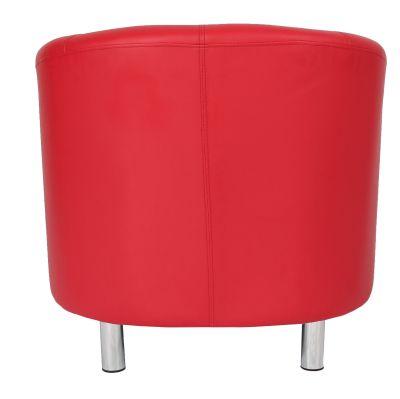 Tritium Tub Chair In Red Rear View Chrome Feet