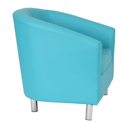 Trtium Light Blue Fauix Leather Tub Chairs With Chrome Feet