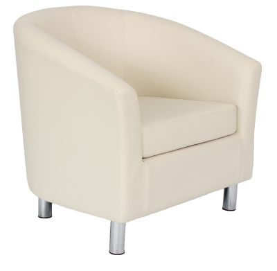 Tritium Cream Leather Tub Chairs With Chrome Feet Front Angle